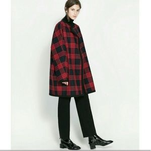Zara Studio wool check plaid tartan cape coat